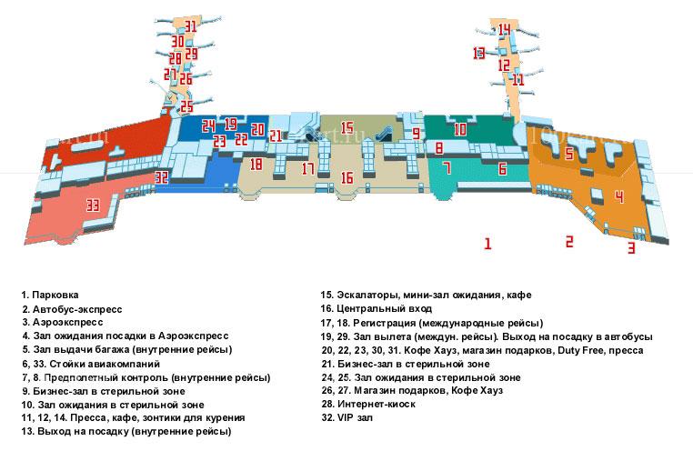 Схема залов прилета / вылета